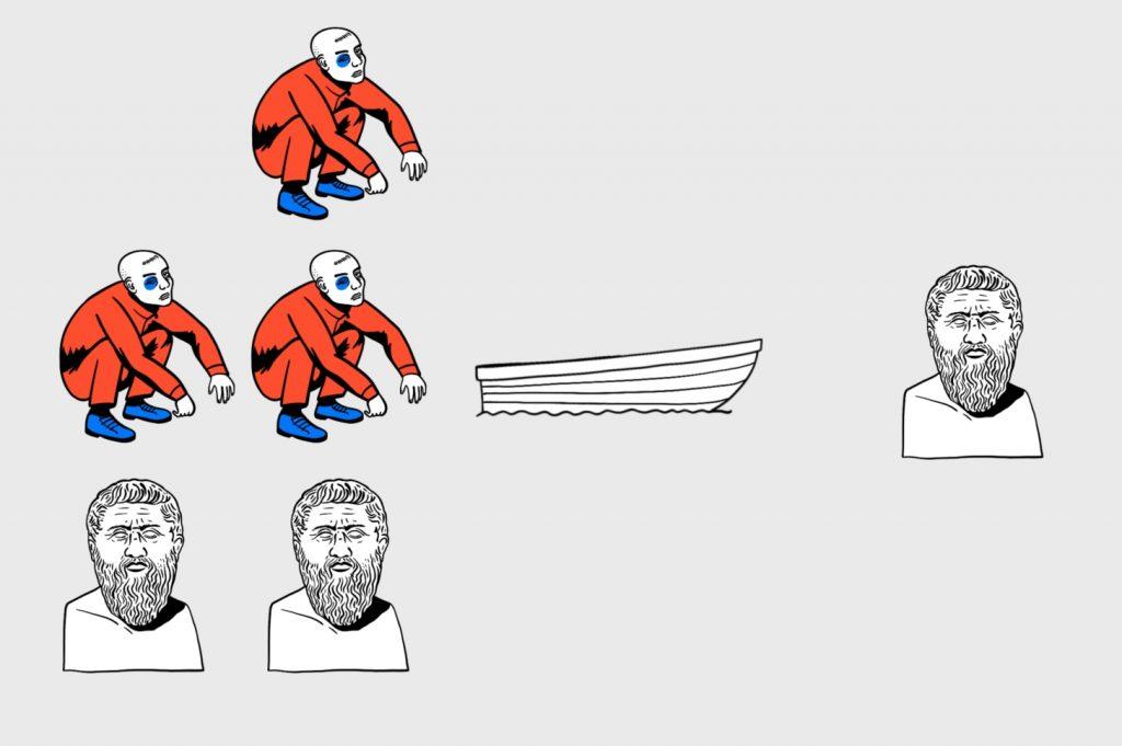 Алгоритмика в деле: философ остаётся на берегу, а гопник — возвращается