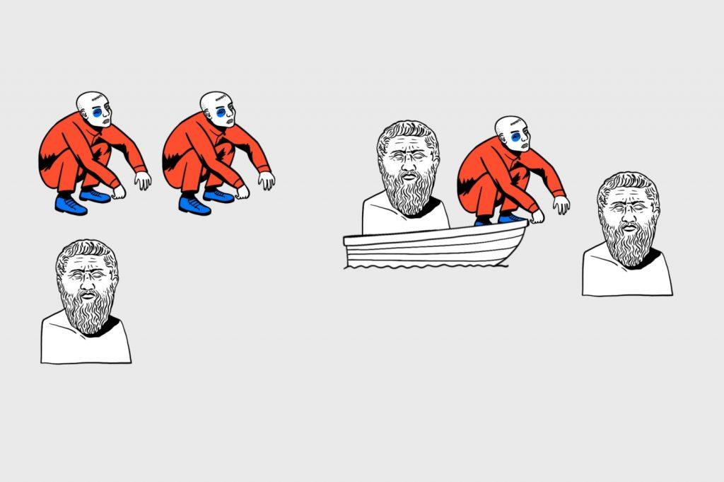 Алгоритмика в деле: гопник высаживает философа, но сам из лодки не вылезает