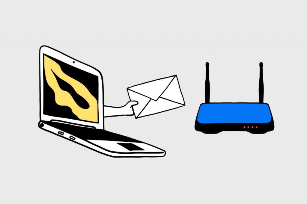 Как устроен интернет: Компьютер отправляет пакет данных маршрутизатору