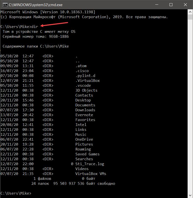 Встроенная в Windows команда dir выводит список всех файлов и каталогов в текущей папке