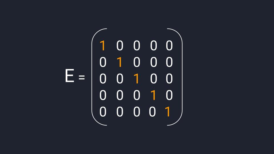 Пример квадратной единичной матрицы размером 5×5