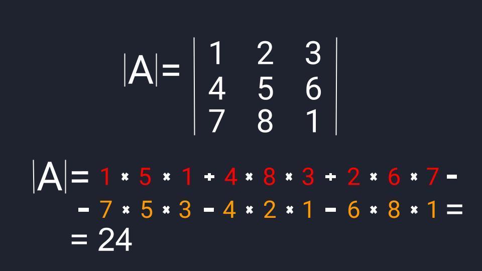 Пример расчёта определителя третьего порядка