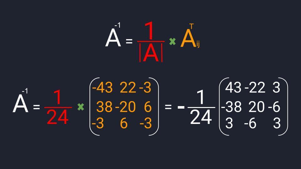 Пример вычисления обратной матрицы третьего порядка