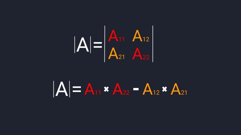 Формула для расчёта определителя второго порядка