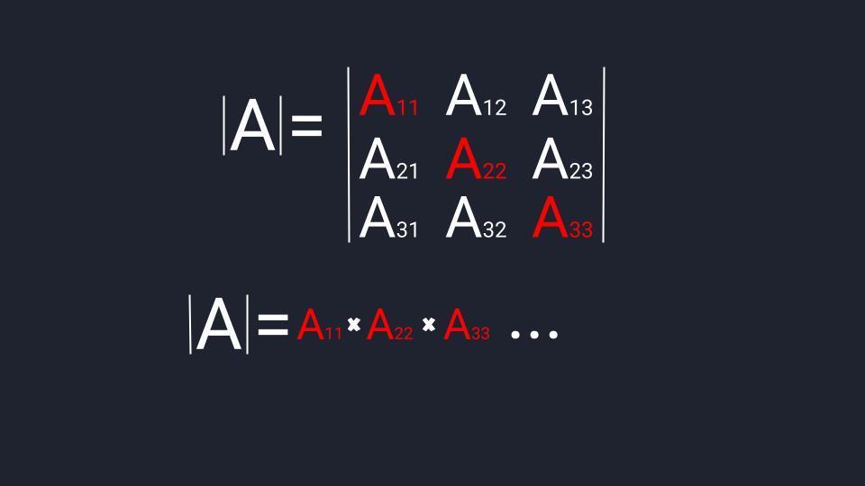 Считаем определитель третьего порядка: 1-й этап — главная диагональ