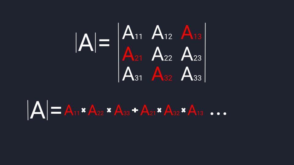 Считаем определитель третьего порядка: 2-й этап — первый треугольник